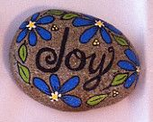 Happy Rock - JOY with Blue daisies - Hand-Painted River Rock
