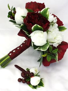 Peony Bridal Bouquet Burgundy and White by UnrealWeddingFlowers