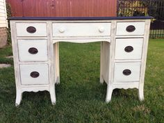 Desk in Annie Sloan Old White distressed and waxed for protection. Top has been re stained in Kona stain. $385 Annie Sloan Old White, Painted Chest, Chest Of Drawers, Chalk Paint, Desk, Top, House, Furniture, Desktop