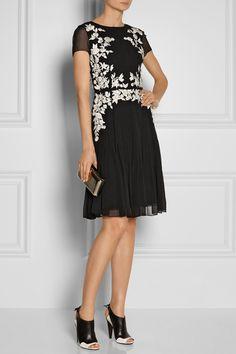 Oscar de la Renta | Floral-appliquéd silk-chiffon dress | NET-A-PORTER.COM