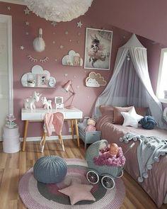 rosa kinderzimmer mädchen deko ideen einhorn wolken #design #nursery #girls