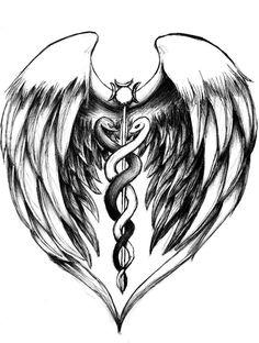 Freddie's Tattoo, on his back stethoscope RN tattoo Caduceus Tattoo, Ems Tattoos, Kunst Tattoos, Future Tattoos, Tattoos For Guys, Sleeve Tattoos, Tattoo Quotes, Tattoo Symbols, Dna Tattoo