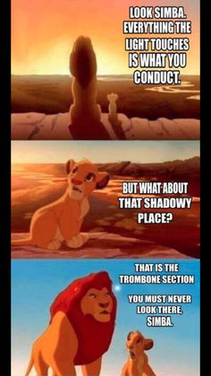 I sit next to two trombones and we just have like this frenemy war thing going on since last year. I'm gonna show this to them maybe they'll finally shut up.