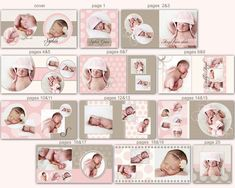 0349 10x10 Photoshop PSD Book Album Template - Sophia - Perfect for Wedding, Birth, Baby, Children, Engagement - Exact Size, Whcc or Mpix