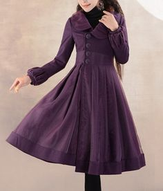 Puff Sleeves Vinatage Wool Dress Womens Prom Party by zeniche