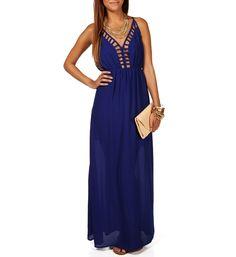 Royal Blue Deep Back Cage Maxi Dress