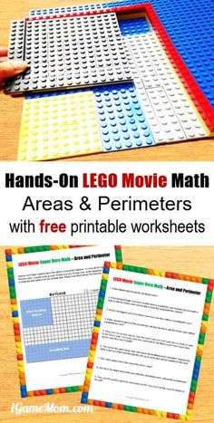 LEGO Movie Hands-On Geometry for kids learn area and perimeter, with free printable math worksheets. Grade 3-5 math center or supplement | STEM