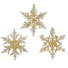 "Gold Glittered Snowflake Ornaments 4.5""  - Set of 3  Price : $17.95 http://www.perfectlyfestive.com/RAZ-Imports-Glittered-Snowflake-Ornaments/dp/B008SKKAX6"