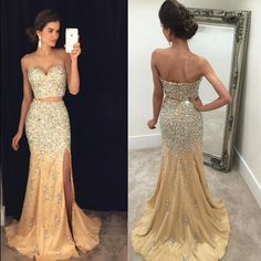 9b16298e7eb Two Piece Prom Dresses Mermaid Crystal Beaded 2019 Luxury