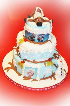 3 tier birthday cake frozen. www.dezoetetaart.com