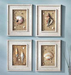 Maritime Deko Ideen selber machen Sand Muschel Bilderrahmen Maritime decoration ideas make sand shell picture frames