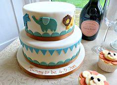 Jungle Animal Theme Baby Shower Cake - stunning 2 tier cake