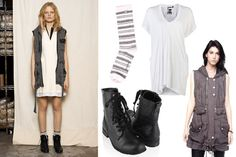 long white shirt (with slip underneath?) + military-ish jacket/vest + rugged boots!
