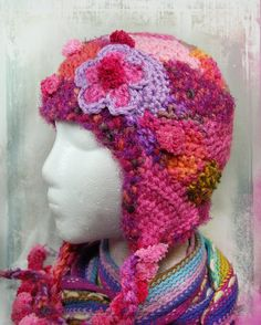 Pretty Pink Freeform Crochet Hat with Earflaps by wildlywhimsical
