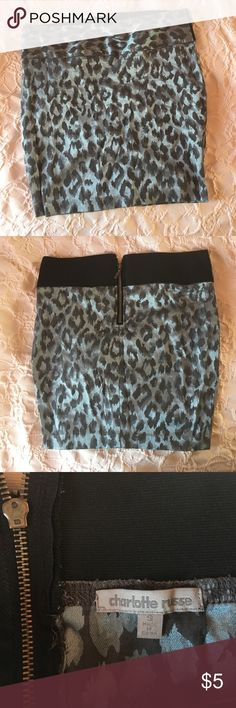 Blue Leopard print bodycon skirt Great condition. Waist band is stretchy Charlotte Russe Skirts Mini