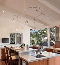 Monorail in vaulted ceiling kitchen  Kitchen Track LightingKitchen ...