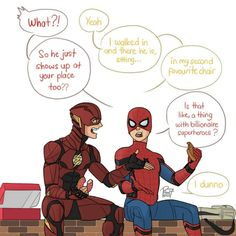 """(@pencilhead7) on Instagram: """"The Flash and Spider-man having a lunch break together."""""""