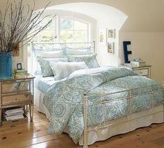 bedroom, beige, blue, cream, monogram, white, white furniture, wood floor