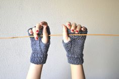 Grey Fingerless gloves mittens handknitted with wool by Notforeat