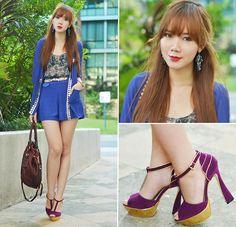 Mac Ruby Woo Lipstick, Comfit Shoes, Sm Accessories Earrings, Lemon Shop Sheer Cardigan, Lily Jean Shorts, Lily Jean Sheer Top