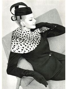 Lanvin Castillo suit, 1959 - would love to wear this leopard print collar and classically gorgeous black suit and stunning geometric hat!