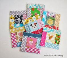 chick chick sewing: Making fussy cut holiday coasters for holiday gift ☆手作りギフト作り(コースターセット)