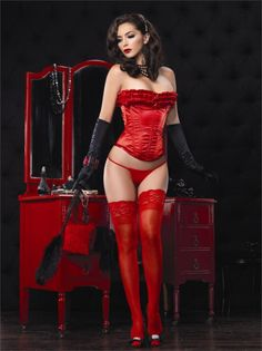Gorgeous, Sexy Hot Red Corset and Seductive display of Cleavage....Edwin