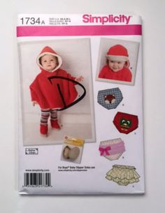 Simplicity 1734 Sewing Pattern Baby Poncho Cape Diaper Cover Hat Booties Infant 0-18 Mo / XS S M L New, Uncut Factory Fold Ready to Ship Check out my other Sewing Patterns listings here