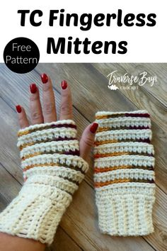 TC Crochet Fingerless Mittens - striped fingerless mitten pattern for women
