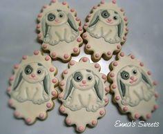 Floppy eared bunny rabbit cookies