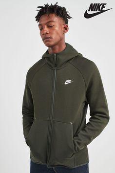 7b5e9637f4a8 Mens Nike Tech Fleece Zip Through Hoody - Green