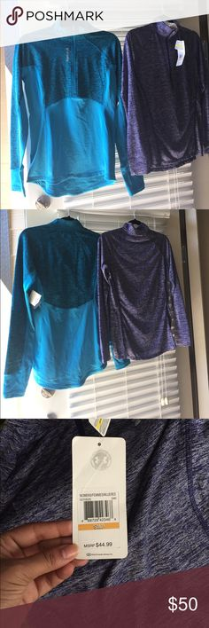 Long sleeve workout tops brand new Under armor size small allseason gear fitted compression top purplish.  - revoked sport cold weather compression blue medium top - note the purple top is size small but both fit similar Reebok Tops