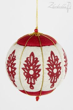 Christmas Ornament - Kimekomi - Crimson and Raw Linen - Hand Printed Design -