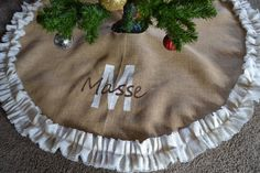 Items similar to Christmas tree skirt -Burlap tree skirt Monogrammed Tree Skirt- Cream Burlap Tree Skirt Custom Tree Skirt - Hand Painted - Gift on Etsy Burlap Christmas, Old Christmas, Christmas Crafts, Christmas Decorations, Christmas Things, Christmas Ideas, Rock Design, Painted Initials, Hand Painted