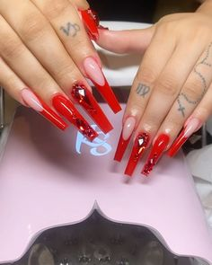 Cute Red Nails, Long Red Nails, Red Ombre Nails, Bright Red Nails, Red Tip Nails, Red Stiletto Nails, Coffin Nails, Acrylic Nails Coffin Pink, Long Square Acrylic Nails