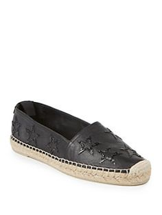 Saint Laurent - Sequined Star-Embroidered Leather Espadrilles $695
