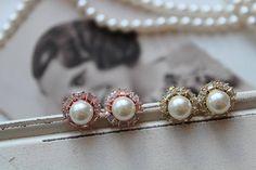 Gold Art Deco Earrings , Bridal Earrings, Vintage Style Crystal Pearl Earrings, Wedding Earrings,Rose Gold Crystal  Earrings, Stud Earrings