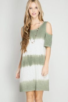 Cold shoulders and ombre tie dye make this dress the perfect addition to your spring and summer wardrobe. Olive green and white striped pattern. FEATURES: - 60% Cotton - 40% Rayon - Model is wearing s