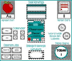 Black & White Chevron Classroom decor: alphabet, numbers, jobs, word wall, book bins, binder covers, and more!