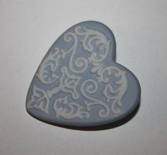 Vintage Brooch Blue Wedgewood Heart 1950s Jewelry by patwatty, $15.00