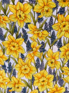 Springtime Floral Daffodil Jonquil Hyacinth Uncut by NerdsNotions, $6.95