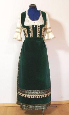 Trachtenmode - Vintage Dirndl mit Schürze, grün Brokat, Gr.38 - ein Designerstück von vampertinger bei DaWanda