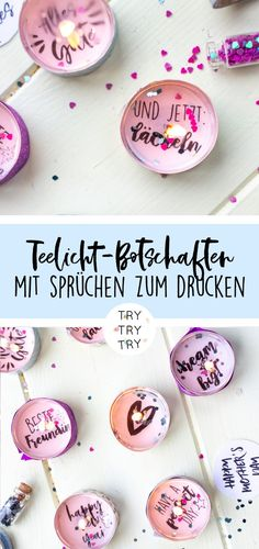 DIY Geschenke: Teelichter-Botschaften für Geburtstage, Silvester oder einfach nur so – TRYTRYTRY - بلدي ديي الهدايا مدونة Diy Birthday, Birthday Presents, Diy 2019, Diy Cadeau, Holiday Break, Sweet Messages, Nouvel An, Birthday Messages, Diy Makeup