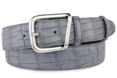 Steel grey mock croc tail belt
