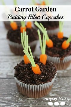 Cute Easter cupcakes with a carrot garden. These cupcakes are pudding filled for a yummy surprise.