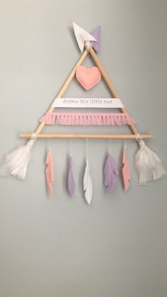Baby diy mobile projects new Ideas Diy Home Crafts, Craft Stick Crafts, Felt Crafts, Crafts To Sell, Easy Crafts, Arts And Crafts, Dream Catcher For Kids, Dream Catcher Craft, Dream Catcher Nursery