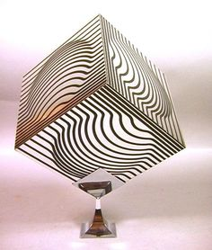 VICTOR VASARELY Metal Cube OP ART Sculpture on Ch
