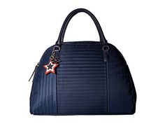 Tommy Hilfiger Womens Calandra Dome Satchel Tommy Navy Handbag -- Continue to the product at the image link. (This is an affiliate link) Tommy Hilfiger Handbags, Tommy Hilfiger Women, Cute Stars, Satchel Handbags, All In One, Shoulder Bag, Navy, Image Link, Leather