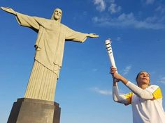 Brazilian Olympic volleyball player Isabel Salgado carried the Olympic Torch at the Christ Redeemer statue this morning. Rio 2016, Olympics, August 2016