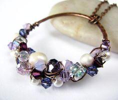 Wire Wrapped Necklace Pearl And Swarovski Crystal by PolymerPlayin